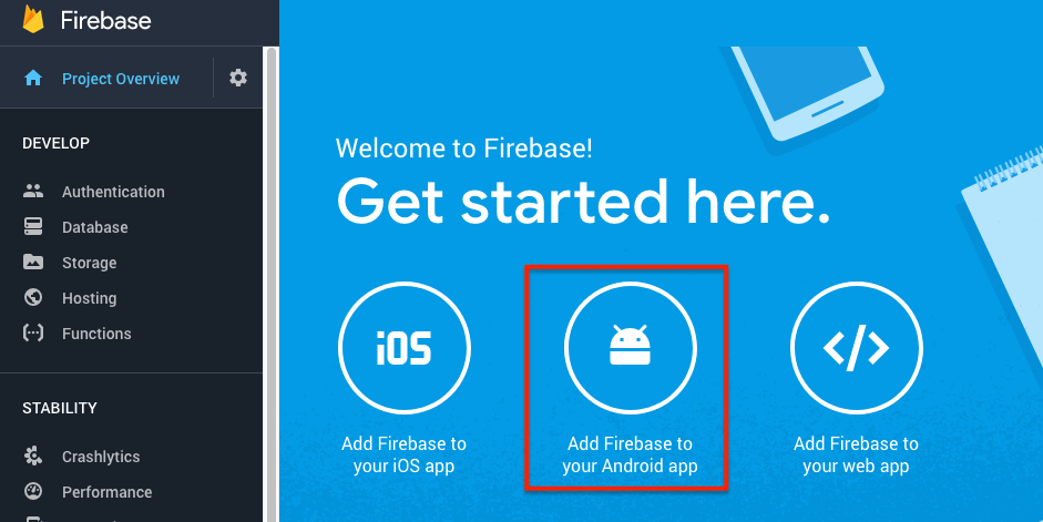 Firebase: create new project