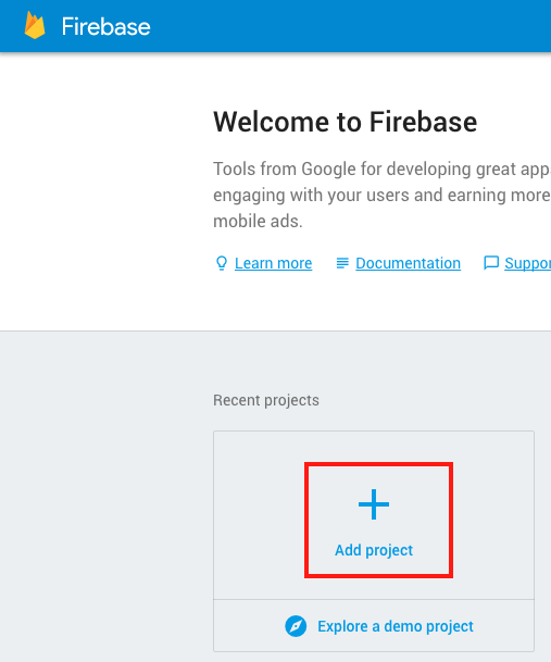 Firebase: add project